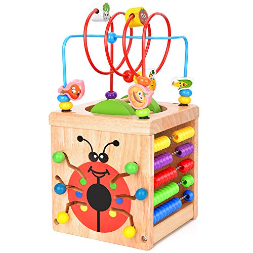 BATTOP Aktivitätswürfel Holz 6 in 1 Motorikwürfel Perlen-Labyrinth Holz Spielcenter Kleinkinder Spielzeug Mehrzweckspielzeug Geschenke für Kinder