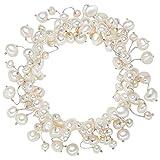 Valero Pearls Damen-Armband elastisch Hochwertige Süßwasser-Zuchtperlen in ca. 4-6 mm Barock weiß 19 cm - Perlenarmband mit echten Perlen 120320
