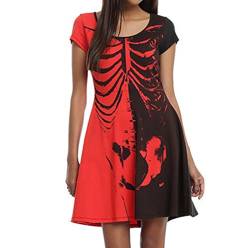 LAEMILIA Kleid Damen Skelett Halloween Midikleid Sommer Reizvoll Kurzarm Kostüm Schwarz (M, (Hop Kostüm Hip Bilder)