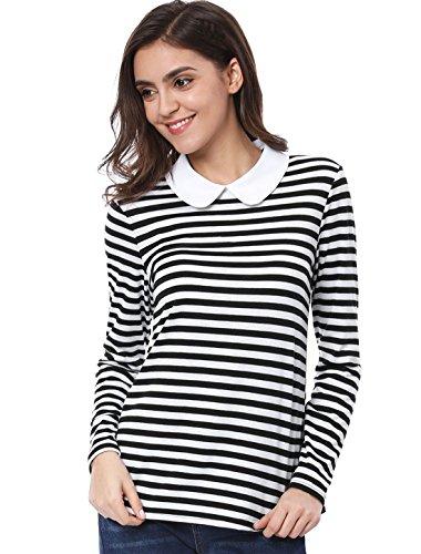 Allegra K Damen Langarm Bubikragen Streifen Top Bluse, XL (EU 48)/Schwarz