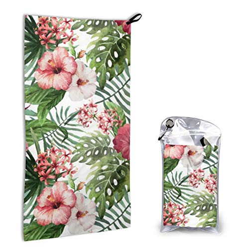 Quick Dry Microfiber Towel Topical Hawaii Watercolor Hibiscus Flowers Floral for Beach Travel Swim Camping 15.7