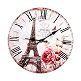 Ljwjialo Moderne Vintage Paris Tour Eiffel en Bois Horloge Murale Ronde Antique Style Maison Cuisine Cuisine Minuteur Silencieux...