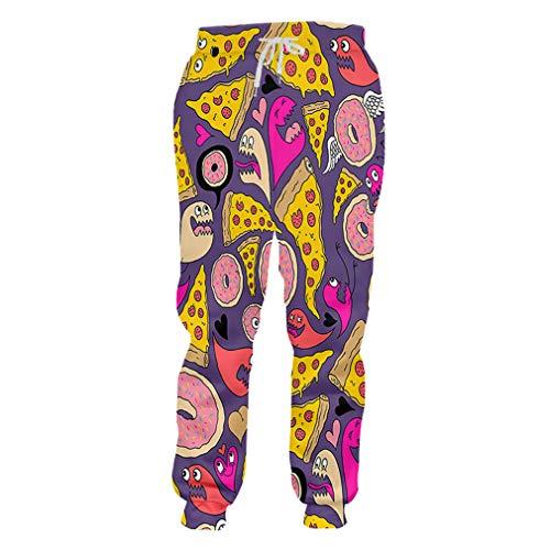Fluores pantaloni sportivi da uomo elastic in vita pantaloni lunghi 3d stampa geometrica a righe colorate casual unisex inverno 02227 s