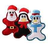 cuckoo-X 3 Stück Weihnachtsmann Schneemann Haustier Molar Puppe Plüsch Spielzeug Weihnachten ohne Füllung Hundespielzeug mit Quietscher