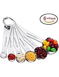 Set Of 6 Stainless Steel Measuring Spoons For Dry And Liquid Ingredients With Ring Holder