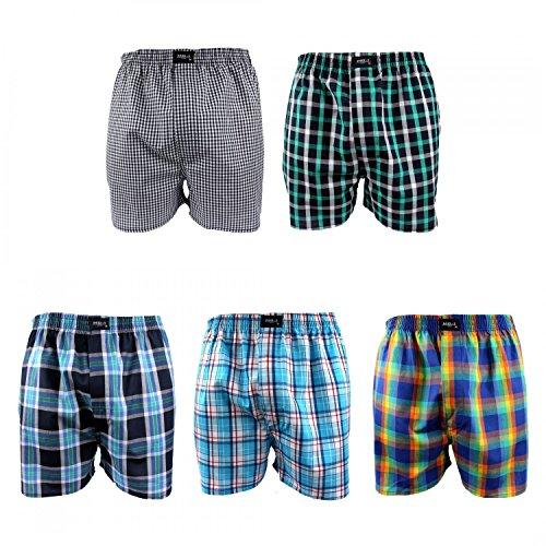 5 Stück MG-1 Webboxer Boxershorts Shorts Boxer Herren desortierter Farbmix , Grösse:XL - 7 - 54, Farbe:mehrfarbig, Menge:5er Pack