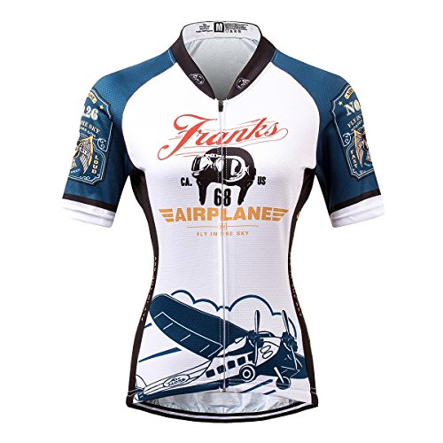 Thriller Rider Sports® Womens Franks Airplane Outdoor Sports Mountain Bike Short Sleeve Cycling Jersey