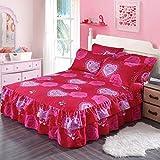 Querbehang Bed Sheet Double Single Tagesdecke Spannbetttuch 100% Baumwolle Tagesdecke Schutz Sleeve 18Styles für 1,2/1,5/1,8/2M Bett (+ 2Kissenbezüge), K, 180x200cm