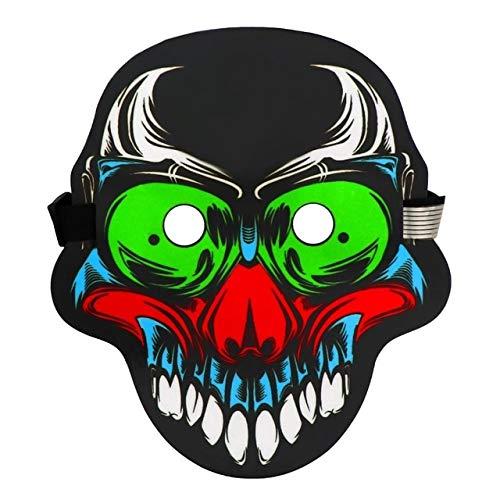 Kostüm Light Up Batman - WSCOLL LED Maske Sound Halloween LED Clown Maske aktiviert LED Maske 3D Vollgesichts Tanz leuchten Maske Festival Cosplay2