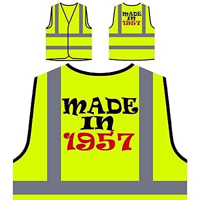 Gemacht 1957 lustige Neuheit neu Personalisierte High Visibility Gelbe Sicherheitsjacke Weste j2v