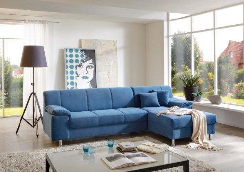 Dreams4Home Polsterecke Laguna Ecksofa Couch Sofa Wohnzimmer Polstergarnitur inkl. Kissen blau, Aufbauvariante:Longchair/Ottomane rechts