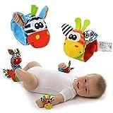Unbekannt 4 Teiliges Babyet Spielzeug Tiere Babyrassel Babysocken + Armbandrasseln (BA001)