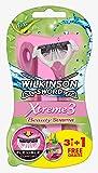 Wilkinson Sword Xtreme 3Beauty Sensitive - Maquinillas de Afeitar Desechables Femeninas con 3 Hojas Flexibles y Banda Lubricante de Aloe Vera y Vitamina E, Pack 3 + 1 Unidades