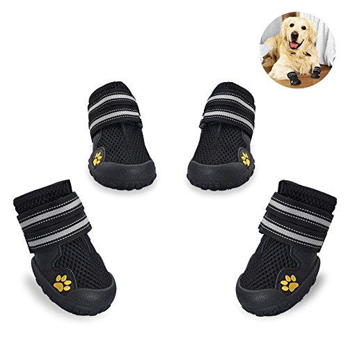 Petacc 4Pcs Hunde Schuhe Breathable Hundeschuhe Rutschfeste Schuhe für Hunde Stiefel für Hund Pfotenschutz Hund (Schwarz - 8)