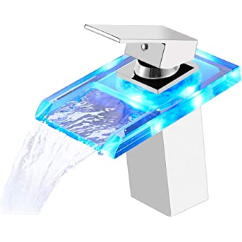 Beleuchteter Glas LED WasserhahnBadarmaturWasserfallWaschtisch Armatur