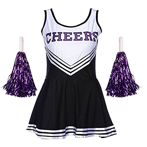 (Frauen High School Musical Cosplay Cheerleading Kostüm Mädchen Halloween Kostüm Klassische Cheerleader Athletic Sport Uniform Mini Rock Karneval Kostüm Outfit mit Pompons)