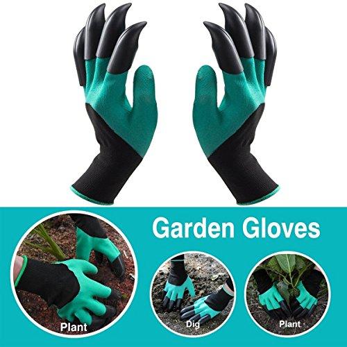Doppel Claw Garten Handschuhe, Garten Genie Handschuhe mit Krallen auf jeder Hand für Graben & Pflanzen (Handschuh Mit Krallen)
