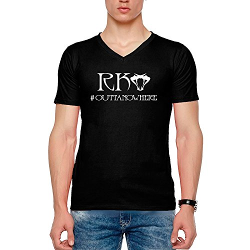 T Shirt - Half Sleeve V Neck WWE Randy Orton RKO Outta no where Design Graphics Printed 100% Cotton T Shirt - WWE Randy Orton RKO Outta no where Design Graphics print T Shirt - Black Half Hand V Neck Cotton T Shirt  available at amazon for Rs.399