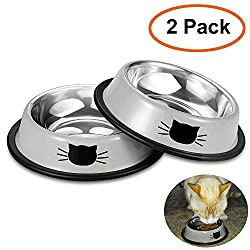 Comsmart Stainless Steel Pet Cat Bowl Puppy Dish Bowl with Cute Cats Painted Non-Skid for Small Dogs Cats (Grey/Grey)