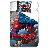 AYMAX S.P.R.L Spiderman Housse de Couette Réversible avec Taie d'Oreiller, Microfibre, Rouge, 200 x 140 cm