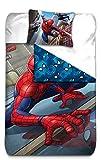 AYMAX S.P.R.L Spiderman Housse de Couette réversible avec Taie d'oreiller, Microfibre, Rouge, 200x140 cm...