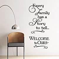"DNVEN (Black Large 22""w X 49""h) Every Family Has a Story to Tell...welcome to Ours Decal Sticker Wall Vinyl Art Girl Boy Teen Baby Home Vinyl Wall Decals Quotes Sayings Words Art Decor"