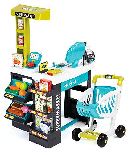 *Smoby 350206 – Supermarkt mit Einkaufswagen, türkis/grün*