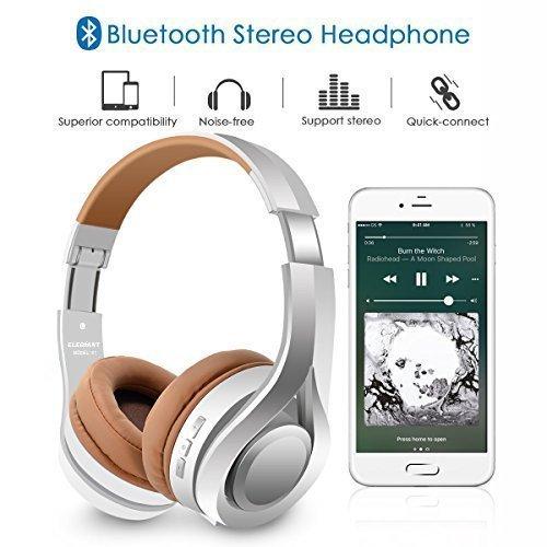 Bluetooth Kopfhörer, ELEGIANT Multifunktion Bluetooth 4.1 Wireless Stereo Headset Wiederaufladbare drahtlose Kopfhörer Ohrhörer Hohe Qualität On Ear Kopfhörer Freisprechfunktion + Mic/3,5mm Audio AUX Kompatibel mit Handys iPhone 7 6 6plus iPad Samsung HTC LG Laptops Tablets Smartphone und andere Bluetooth Geräte - 2