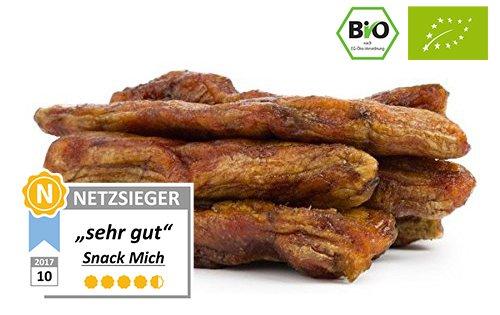 Bio getrocknete Bananen Gros Michel 150g, Rohkost-Qualität, Frische Ernte aus Kamerun, ungezuckert, ungeschwefelt, naturbelassen, 80% weniger Fruchtzucker als herkömmliche Produkte