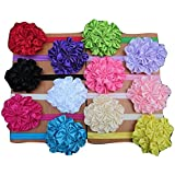 XIMA Ealstic Baby Headbands With Flowers For Baby Grils Pack Of 12
