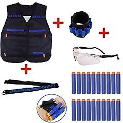 Idea Regalo - Nerf War Tactical Set di equipaggiamento per fucile a scoppio per Nerf N-strike Elite Serie Blasters Toy Gun (1 Bandolier + 1 Wrister + 1 Giacca Tattica Vest + 1 Occhiali Protective Occhiali + Darts Schiuma 10pcs)