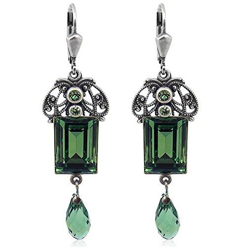 Jugendstil Ohrringe mit Kristallen von Swarovski Silber Grün NOBEL SCHMUCK