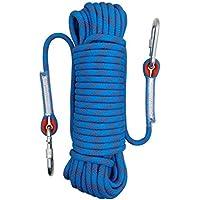 Wolike 10/20 metres de long professionnel Corde d'escalade rappel Descente en rappel Corde extérieur excursions Accessoires 12mm de diamètre 12 KN Escape haute résistance à la corde avec 2 mousquetons, Bleu