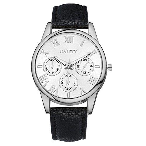 Damen Wählen Armbanduhr Lederarmband Damenuhr Analog Quarz Uhr Schwarz