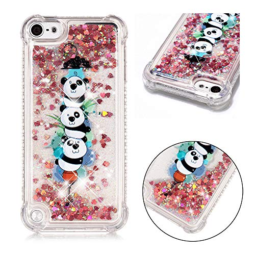 BestCatgift Clear TPU Hülle with [Quicksand][Air Cushion Technology][Coloured Drawing] für Apple iPod Touch 5/6 - Panda - Fall Panda Ipod