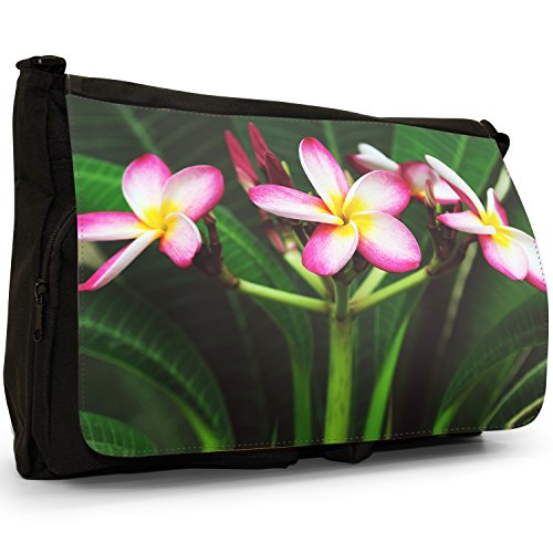 Fancy A Bag Borsa Messenger nero Daisy Frangipani Delicate Blossoming Flowers