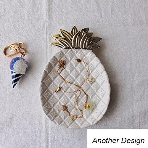 Gold Leaf Teller (Home Decor Relief Teller Gold Leaf Tablett Ananas Schmuck Aufbewahrung Teller Obst Schalen Keramik Lebensmittel Teller White_pineapple)