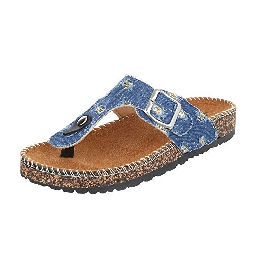 Zehentrenner Damenschuhe Peep-Toe Zehentrenner Ital-Design Sandalen / Sandaletten Hellblau