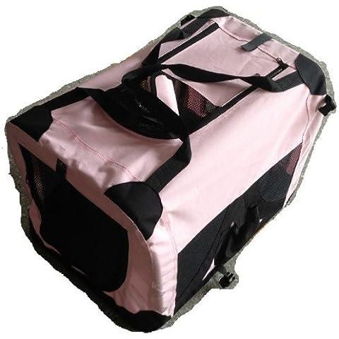 Tela suave del animal doméstico perro gato portador de la casa de la perrera jaula portátil bolsa extra-grande, rosa claro, FPSC9