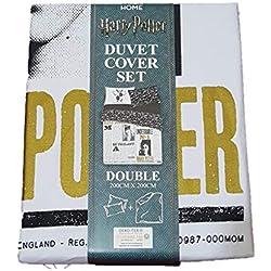 Primark Home Harry Potter - Juego de Funda de edredón Reversible para Cama Individual, Doble, tamaño King Size, Blanco y Negro, Doublé