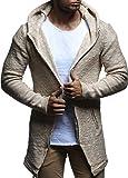 LEIF NELSON Herren Jacke Strickjacke Kapuzenpullover Hoodie Pullover Sweatjacke Sweatshirt Freitzeitjacke LN20740; Gr_e M, Beige
