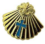 Gold ton Taufe Shell mit Blau Emaille Kreuz Anstecknadel, 3/10,2cm
