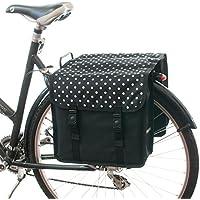 Beluko Classic Double–Bolsa para bicicleta, con doble Alforja, para mujeresypara hombre, C37 - White Polka Dots