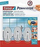 Tesa Powerstrips- Haken - Mini- oval Chrom, Set: 3 Haken, 4 Strips