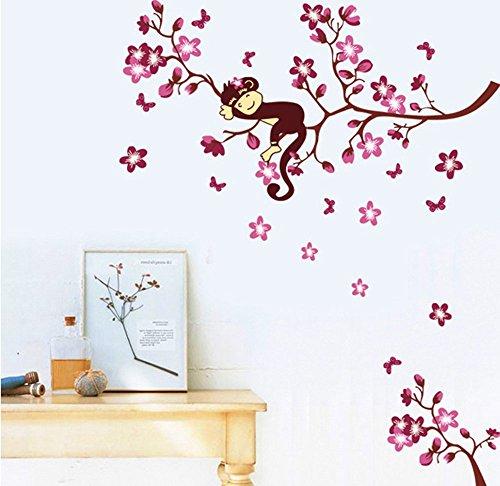 Ufengke® belle scimmia e pesca fiori rossi adesivi murali, camera dei bambini vivai adesivi da parete removibili/stickers murali/decorazione murale