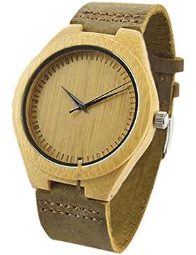 Eyekepper Unisex Retro Leder Mode Bambus-Holz-Uhr-Japan-Bewegung Quarz beilaeufige Armbanduhren