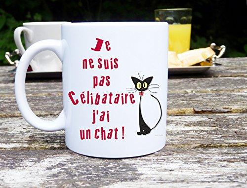 Sublimagecreations mug Chat, mug Humour, Je suis Pas célibataire J'Ai Un Chat, idée Cadeau