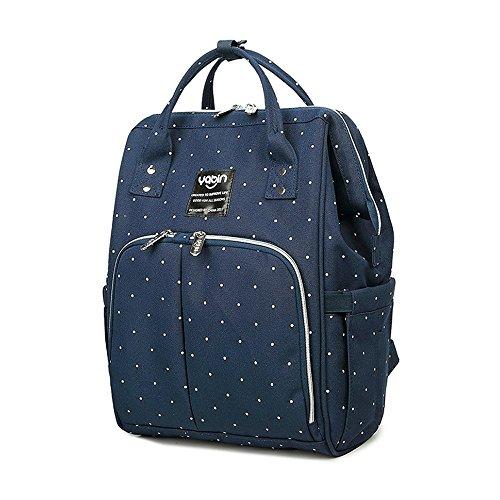 Mama-Tasche, Umhängetasche, Multifunktions-Großraum-Muttertasche, Mutter-Baby-Tasche, Licht-Out-Paket, Mode-Rucksack ( Farbe : Blue flowers ) Blue wave point