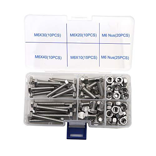 Sechskantschraube Edelstahl Mutter Kombination Nägel Schrauben Befestigungen DIN 933 SUS304,A2 M6-Serie