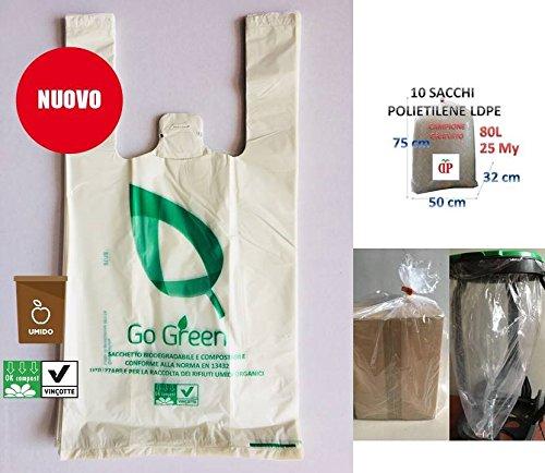 100 buste bianche sacchetti biodegradabili compostabili 22+12x40 per negozi alimentari, usi domestici a strappo e asola per appenderli ideali anche per raccolta umido differenziato+10 sacchi trasparenti 80l utili per indiferrenziata campione gratuito